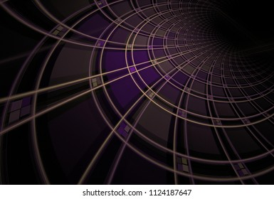 Intricate purple and orange woven curved geometric design (3D illustration, black background)