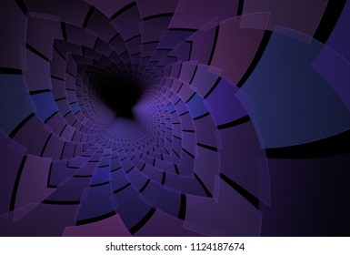 Intricate purple, pink and blue abstract spiky fractal flower (3D illustration, black background)