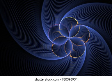 Intricate spinning blue and gold ripple flower design (3D illustration, black background)