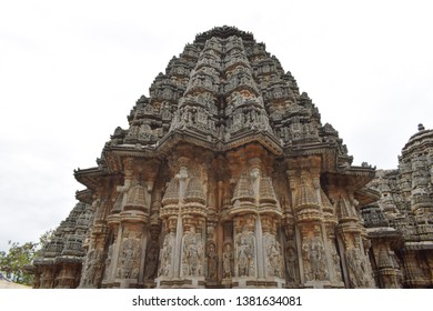 Intricate stone carving on the temple gopuram in India