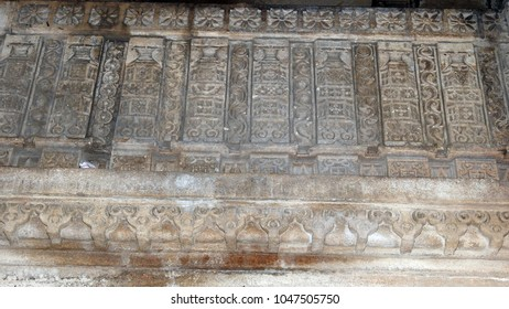 Intricate stone carvings at Dada Harir Stepwell in Asarwa area of Ahmedabad, Gujarat State, India.