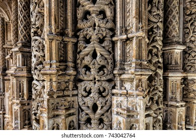 Intricate stone carvings on the walls of the Unfinished Chapels in the 14th century Batalha Monastery in Batalha, Portugal, a prime example of Portuguese Gothic architecture, UNESCO Heritage site