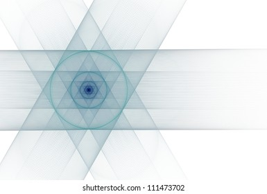 Intricate teal / navy abstract string Star of David on white background