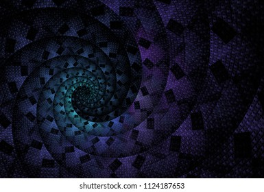 Intricate teal and purple abstract woven / checkered spiral design (3D illustration, black background)