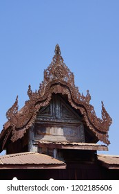 Intricate wooden carving of the Shwe Yan Pyay monastery, near  Inle Lake,  Myanmar (Burma)