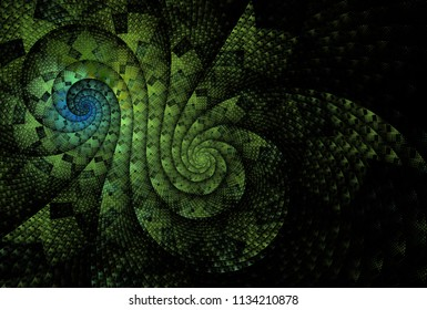 Intricate woven, checkered green and blue double spiral desig (3D illustration, black background)
