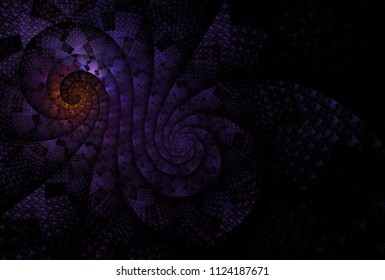 Intricate woven, checkered purple and orange double spiral design (3D illustration, black background)