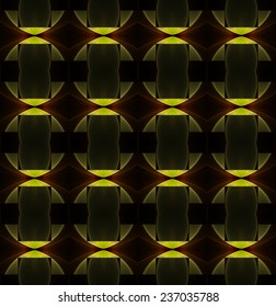 Intricate yellow and brown diamond / stripe abstract string pattern on black background (tile able)