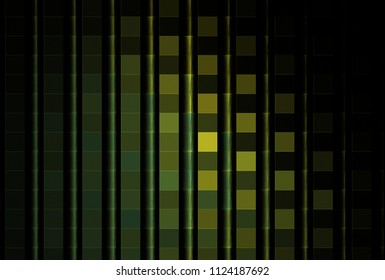 Intricate yellow, green and teal abstract 3D vertical pole design (3D illustration, black background)
