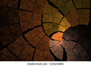Intricate yellow, orange and peach woven curved patchwork design (3D illustration, black background)