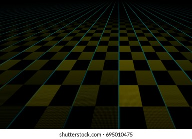 Intricate yellow / teal abstract checkered floor design on black background (3D render)