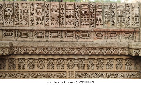 Intricated carvings at Adalaj Stepwell, which is located near Ahmedabad in the Indian state of Gujarat. It is a fine example of Indian architecture work.