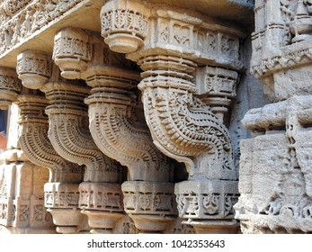 Intricately carved brackets at Adalaj Stepwell, which is located near Ahmedabad in the Indian state of Gujarat.