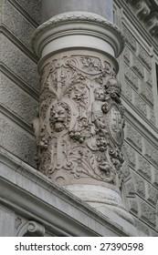 Intricately Carved Stone Pillar at Schonbrunn Castle in Vienna, Austria