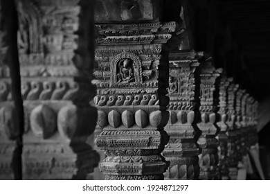 Intricately carved wooden pillars in Bhaktapur, Kathmandu, Nepal
