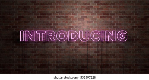INTRODUCING - fluorescent Neon tube Sign on brickwork - Front view - 3D rendered royalty free stock picture. Can be used for online banner ads and direct mailers.