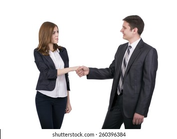 Introduction of male and female business people. Young man and woman shaking hands. Business style dress code, white background.
