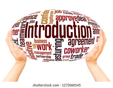 Introduction word cloud hand sphere concept on white background.