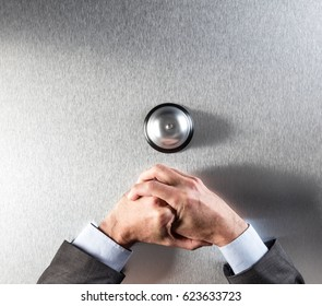 introvert businessman hands holding on to a desk, annoyed by bad customer help, facing a client ring with frustration and exasperation, copy space, above view