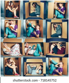 Introvert concept. Collage of man and women sitting inside box