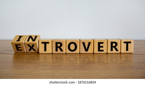 Introvert or extrovert symbol. Fliped cubes and changed the word 'introvert' to 'extrovert'. Beautiful wooden table, white background, copy space. Psychological and Introvert or extrovert concept.