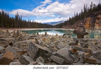 Inukshuk at Athabasca Falls, Jasper National Park, Alberta