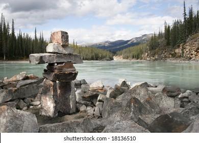Inukshuk built in Jasper Alberta