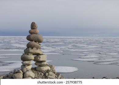 Inukshuk in Gjoa Haven, Nunavut