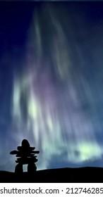 Inukshuk and Northern Lights Saskatchewan Canada colorful