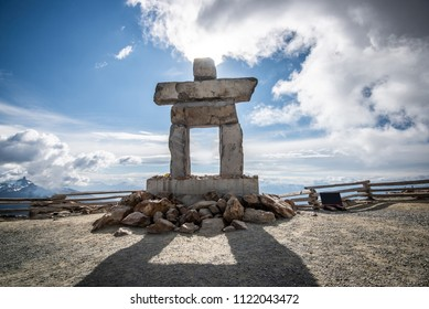 Inukshuk rock statue on top of Whistler mountain, Canada