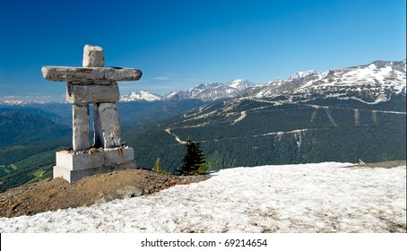 Inukshuk at the Roundhouse at Whistler, Canada. Stone landmarks used by the Inuit, Inupiat, Kalaallit, Yupik, and other peoples of North America - and were used for navigation & points of reference.