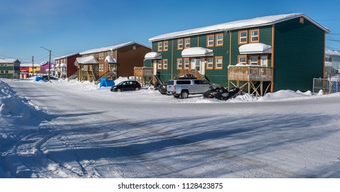 Inuvik, Northwest Terrritories, Canada - March 28, 2017:  Street view of housing in the Canadian Arctic town of Inuvik