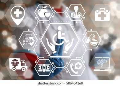 Invalid insurance medicine help healthcare web computing concept. Doctor presses disabled button with hands on virtual screen. Disability medical health care support healthy rehabilitation technology