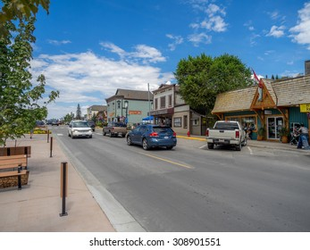 INVEMERE, BRITISH COLUMBIA,  CANADA - AUG 8: Main street in the town of Invemere on August 8, 2015 in the Canadian Rockies. Invemere is located in BC on lake Windemere and is a popular destination.