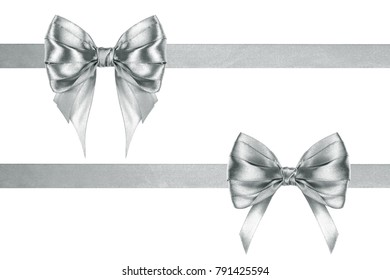 Invention silk silver two ribbons and bows on a white background