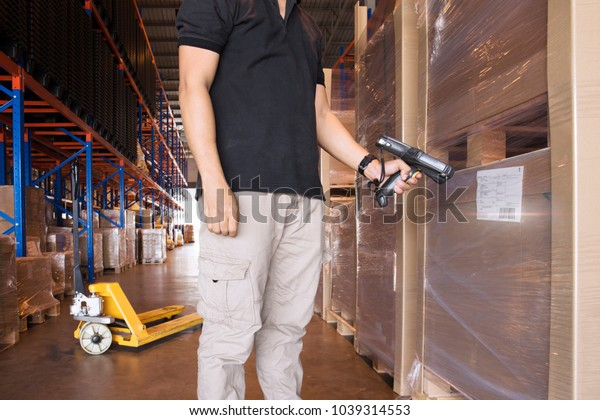 Inventory Check Product Warehouse Worker Hand Stock Photo