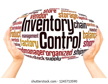 Inventory Control word cloud hand sphere concept on white background.