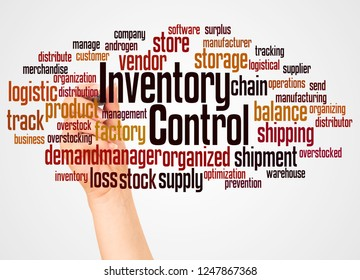 Inventory Control word cloud and hand with marker concept on white background.