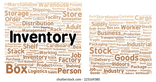 Inventory word cloud shape concept