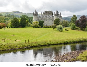 INVERARAY, ARGYLL AND BUTE, SCOTLAND, UK - 3 JULY 2016: people walking in the grounds of Inveraray Castle the ancestral home of the Duke of Argyll, Chief of the Clan Campbell