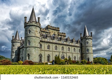 Inveraray Castle at Argyll with dark clouds behind