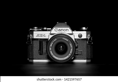 Inverigo, Italy - September 15, 2015: Still life image of a Canon AE-1 reflex camera