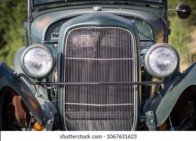 Invermere, British Columbia, Canada - September 18, 2017 - Symmetrical image of the front end of a  1930's Ford Roadster hot rod near the town of Invermere, in the Columbia Valley of British Columbia.