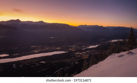 Invermere and mountains in the evening from Mount Swansea, British Columbia.