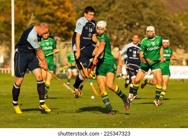 INVERNESS CITY, SCOTLAND - 18 OCTOBER 2014: This is a scene from within the International Shinty-Hurling match between Scotland and Eire at Bught Park, Inverness, Scotland on 18 October, 2014.