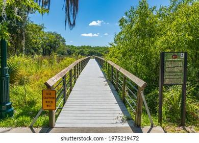 INVERNESS, FLORIDA, USA - MAY 14, 2021: Cooter Pond Park boardwalk