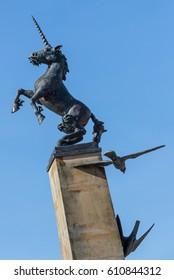 INVERNESS, INVERNESS-SHIRE, SCOTLAND - 27 MARCH: This is the Unicorn Statue within Falcon Square, Inverness, Inverness-shire, Scotland.