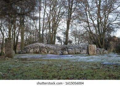 Inverness / Scotland - 01.14.2020: Clava Cairns Culloden Battlefield standing stones in SNOW