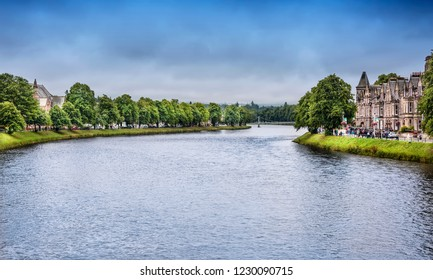 Inverness, Scotland - August 13, 2018:  The River Ness, as it runs through the city of Inverness, the cultural capital of the Scottish Highlands.