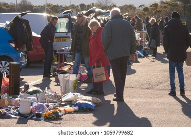 INVERNESS, SCOTLAND, UK - April 1, 2018: People shopping at a car boot sale in Inverness, Scotland, UK